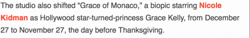 Grace of Monaco set for Thanksgiving 2013