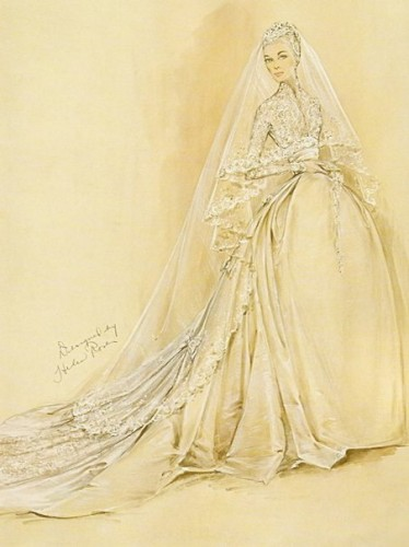 Grace Kelly Wedding Dress Sketch - Helen Rose