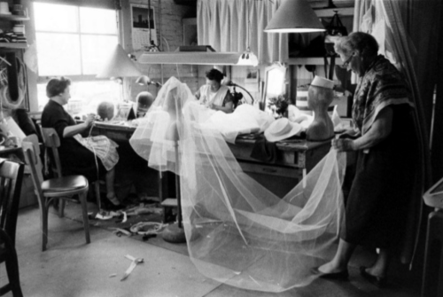 Seamstresses working on Grace Kelly wedding dress - 1956